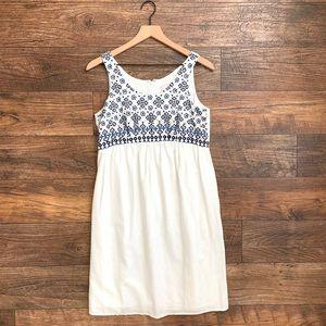 Loft White Embroidered Sleeveless Shift Dress Sz 2
